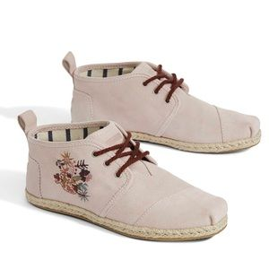 6 TOMS Women's Bota Suede Boot Floral Embroidery
